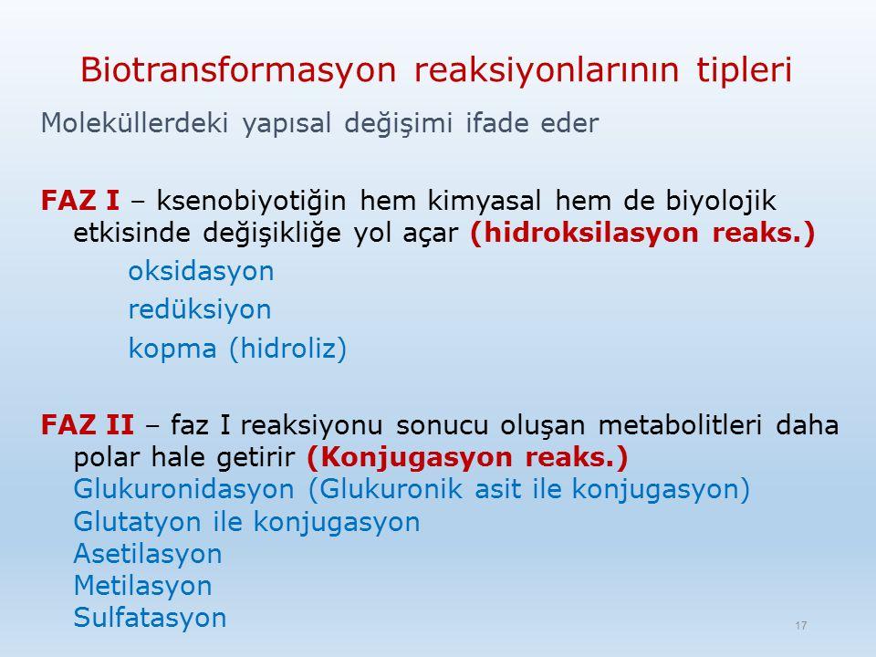 Biotransformasyon reaksiyonlarının tipleri Moleküllerdeki yapısal değişimi ifade eder FAZ I – ksenobiyotiğin hem kimyasal hem de biyolojik etkisinde değişikliğe yol açar (hidroksilasyon reaks.) oksidasyon redüksiyon kopma (hidroliz) FAZ II – faz I reaksiyonu sonucu oluşan metabolitleri daha polar hale getirir (Konjugasyon reaks.) Glukuronidasyon (Glukuronik asit ile konjugasyon) Glutatyon ile konjugasyon Asetilasyon Metilasyon Sulfatasyon 17
