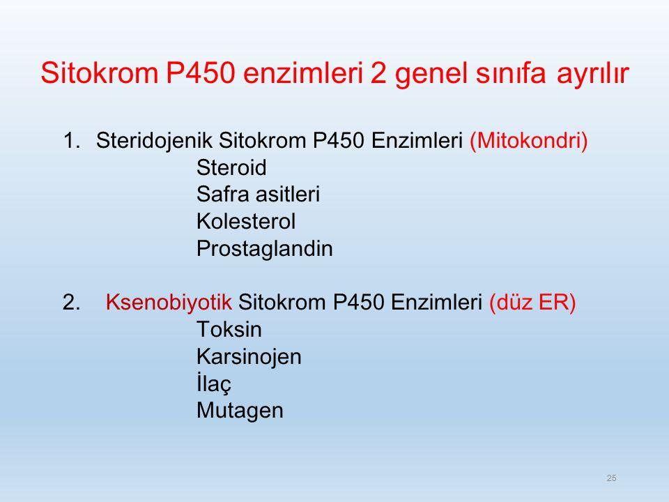 Sitokrom P450 enzimleri 2 genel sınıfa ayrılır 1.Steridojenik Sitokrom P450 Enzimleri (Mitokondri) Steroid Safra asitleri Kolesterol Prostaglandin 2.