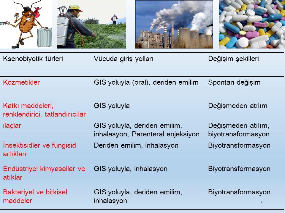 Ksenobiyotik türleriVücuda giriş yollarıDeğişim şekilleri KozmetiklerGIS yoluyla (oral), deriden emilimSpontan değişim Katkı maddeleri, renklendirici, tatlandırıcılar GIS yoluylaDeğişmeden atılım ilaçlarGIS yoluyla, deriden emilim, inhalasyon, Parenteral enjeksiyon Değişmeden atılım, biyotransformasyon İnsektisidler ve fungisid artıkları Deriden emilim, inhalasyonBiyotransformasyon Endüstriyel kimyasallar ve atıklar GIS yoluyla, inhalasyonBiyotransformasyon Bakteriyel ve bitkisel maddeler GIS yoluyla, deriden emilim, inhalasyon Biyotransformasyon 5