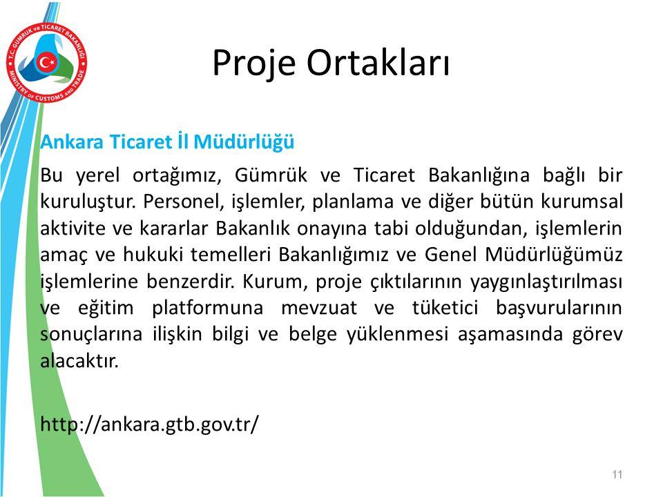 Ankara Ticaret İl Müdürlüğü Bu yerel ortağımız, Gümrük ve Ticaret Bakanlığına bağlı bir kuruluştur. Personel, işlemler, planlama ve diğer bütün kurums