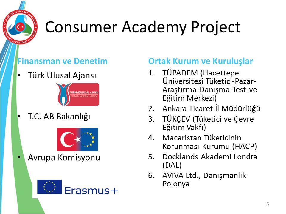 Consumer Academy Project Finansman ve Denetim Türk Ulusal Ajansı T.C. AB Bakanlığı Avrupa Komisyonu Ortak Kurum ve Kuruluşlar 1.TÜPADEM (Hacettepe Üni