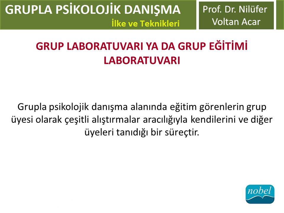 GRUP LABORATUVARI YA DA GRUP EĞİTİMİ LABORATUVARI Grupla psikolojik danışma alanında eğitim görenlerin grup üyesi olarak çeşitli alıştırmalar aracılığ