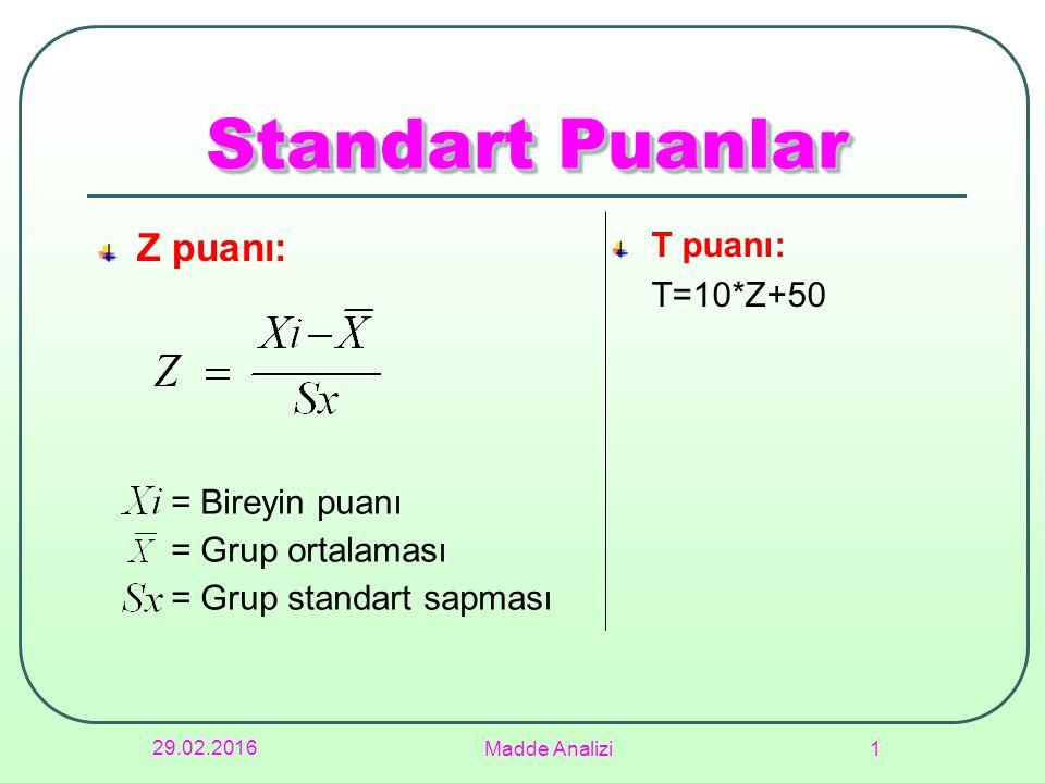 29.02.2016 Madde Analizi 1 Standart Puanlar Z puanı: T puanı: T=10*Z+50 = Bireyin puanı = Grup ortalaması = Grup standart sapması