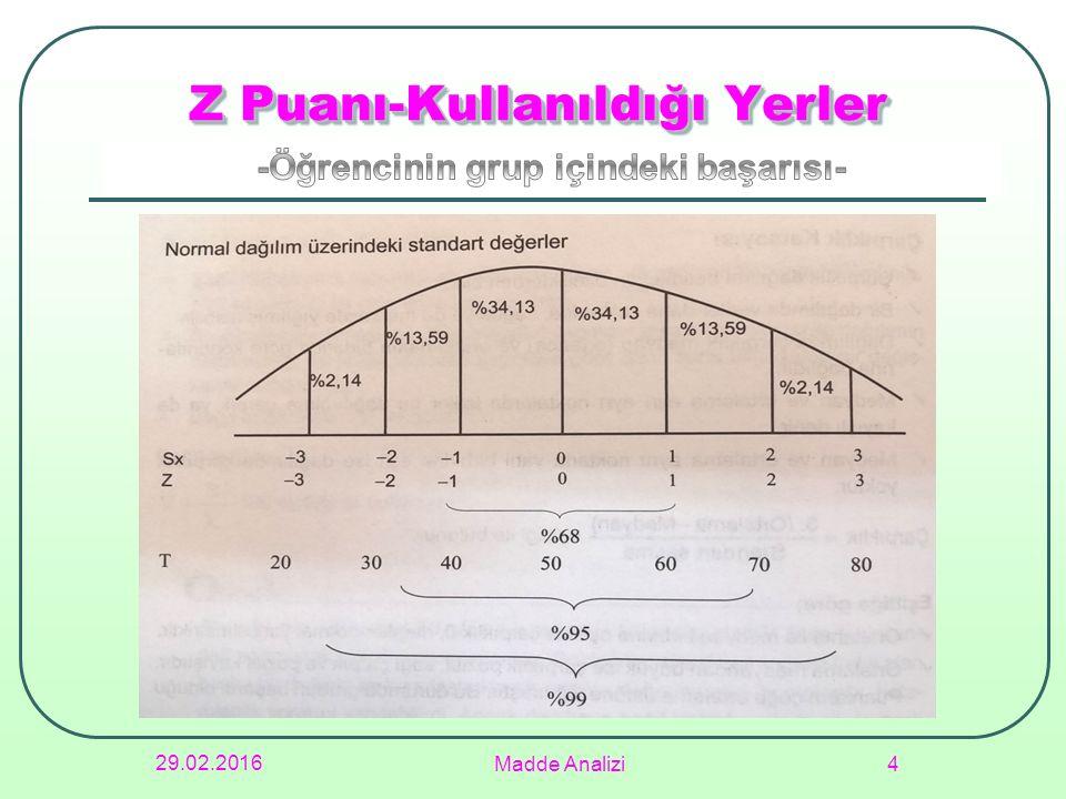 Z Puanı-Kullanıldığı Yerler 29.02.2016 Madde Analizi 4