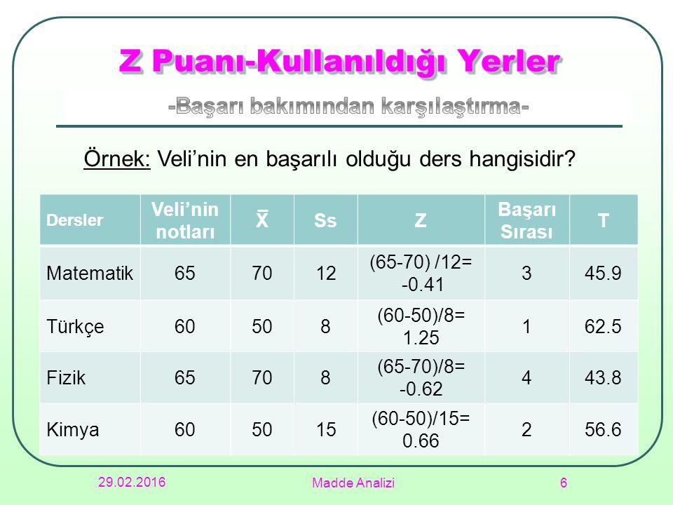 29.02.2016 Madde Analizi 6 Z Puanı-Kullanıldığı Yerler Dersler Veli'nin notları XSsZ Başarı Sırası T Matematik657012 (65-70) /12= -0.41 345.9 Türkçe60