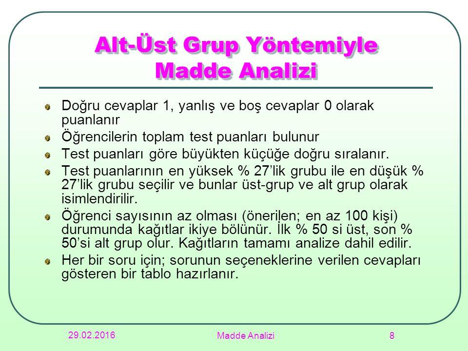 29.02.2016 Madde Analizi 8 Alt-Üst Grup Yöntemiyle Madde Analizi Doğru cevaplar 1, yanlış ve boş cevaplar 0 olarak puanlanır Öğrencilerin toplam test