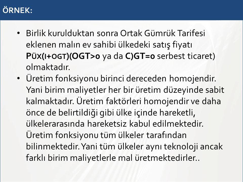 ÖRNEK: Birlik kurulduktan sonra Ortak Gümrük Tarifesi eklenen malın ev sahibi ülkedeki satış fiyatı P ÜX ( I + OGT )(OGT>0 ya da C)GT=0 serbest ticare