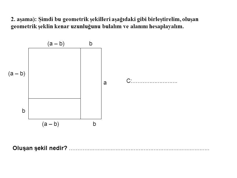 3.aşama): 1.aşamada alanlarını hesapladığımız şekillerin alanlarının toplamını yazınız.