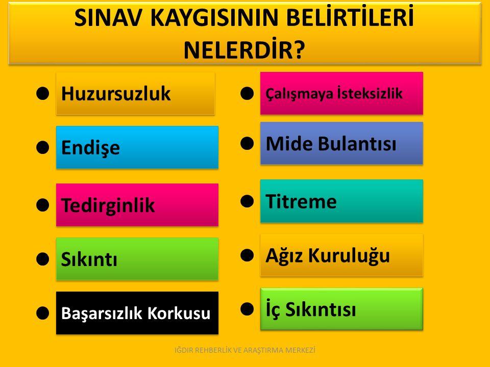 SINAV KAYGISININ BELİRTİLERİ NELERDİR.