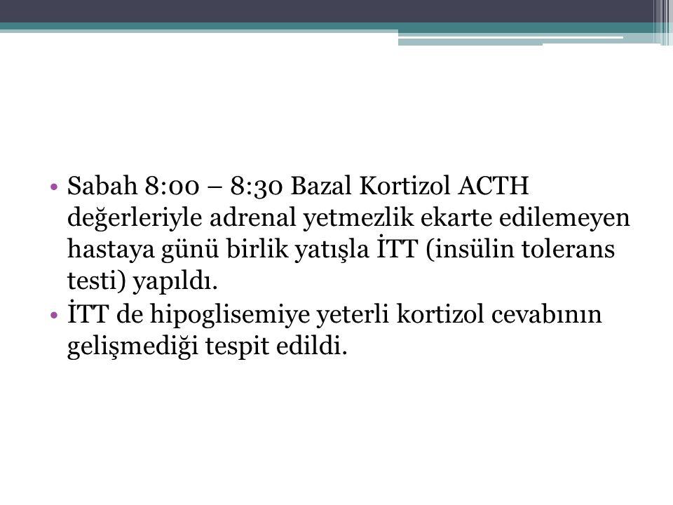 Sabah 8:00 – 8:30 Bazal Kortizol ACTH değerleriyle adrenal yetmezlik ekarte edilemeyen hastaya günü birlik yatışla İTT (insülin tolerans testi) yapıld