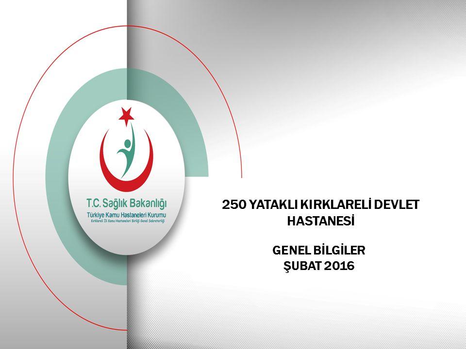 250 YATAKLI KIRKLARELİ DEVLET HASTANESİ GENEL BİLGİLER ŞUBAT 2016