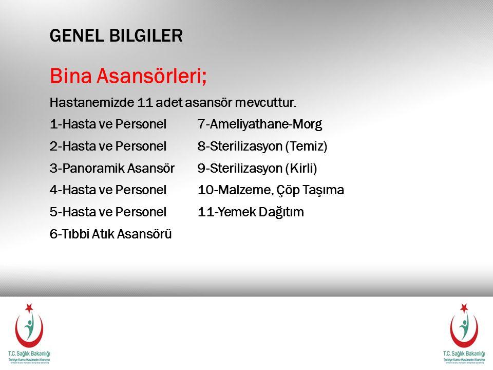 GENEL BILGILER Bina Asansörleri; Hastanemizde 11 adet asansör mevcuttur. 1-Hasta ve Personel7-Ameliyathane-Morg 2-Hasta ve Personel8-Sterilizasyon (Te