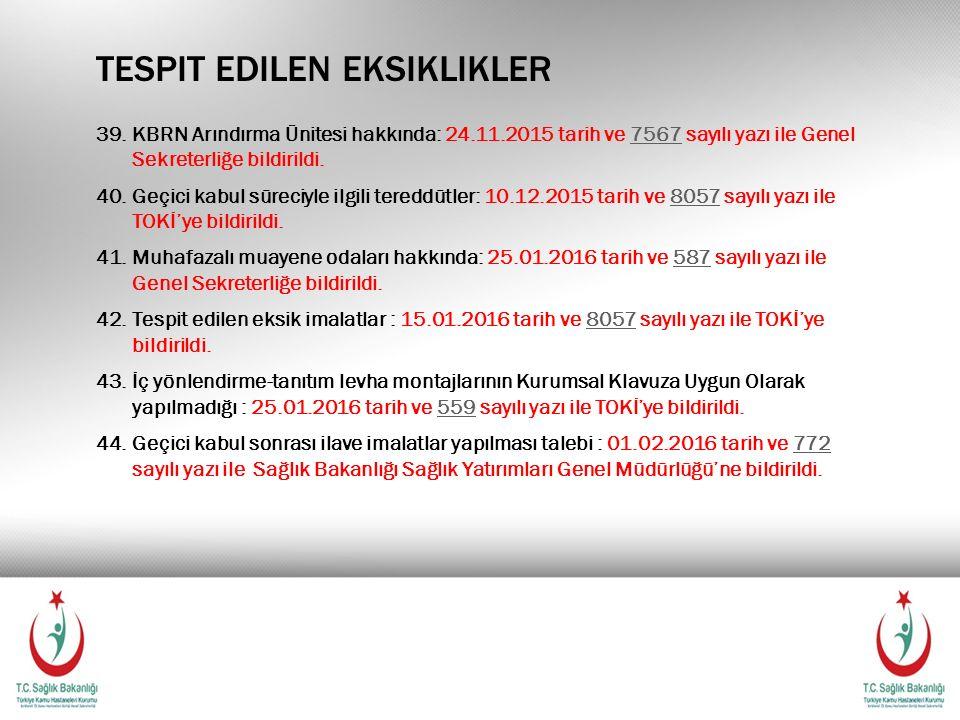 TESPIT EDILEN EKSIKLIKLER 39.KBRN Arındırma Ünitesi hakkında: 24.11.2015 tarih ve 7567 sayılı yazı ile Genel Sekreterliğe bildirildi.7567 40.Geçici ka