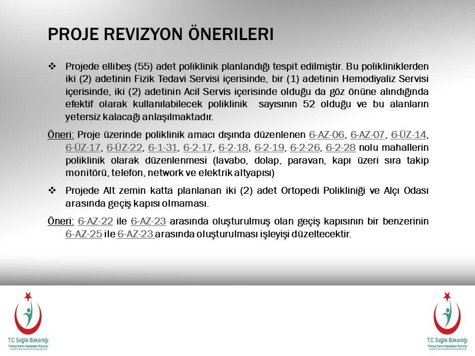 PROJE REVIZYON ÖNERILERI  Projede ellibeş (55) adet poliklinik planlandığı tespit edilmiştir. Bu polikliniklerden iki (2) adetinin Fizik Tedavi Servi