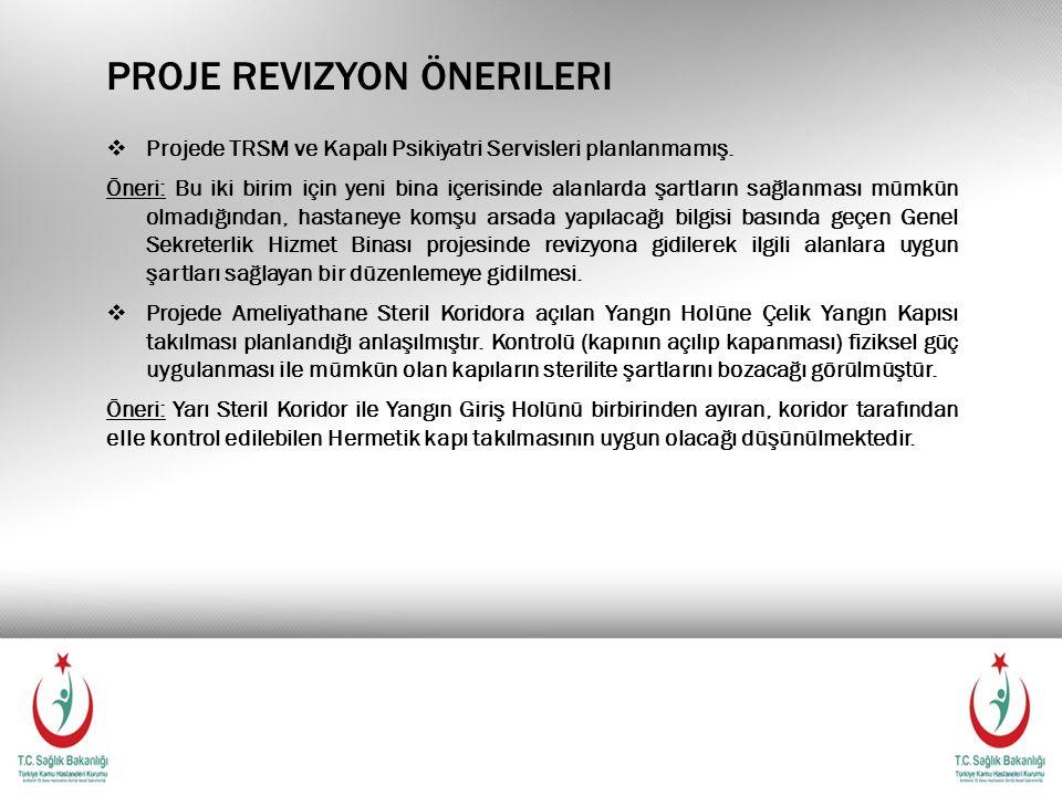 PROJE REVIZYON ÖNERILERI  Projede TRSM ve Kapalı Psikiyatri Servisleri planlanmamış.