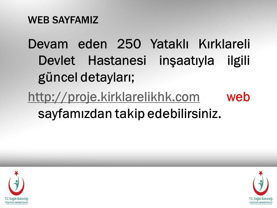 Devam eden 250 Yataklı Kırklareli Devlet Hastanesi inşaatıyla ilgili güncel detayları; http://proje.kirklarelikhk.comhttp://proje.kirklarelikhk.com web sayfamızdan takip edebilirsiniz.