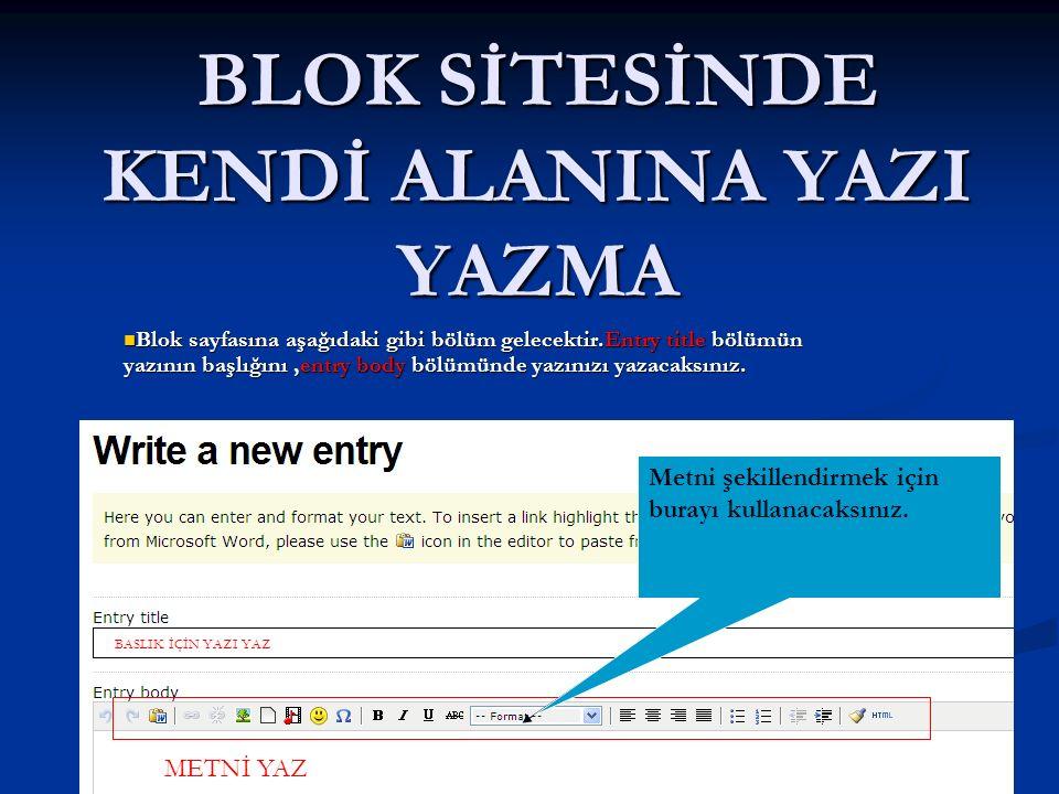 BLOK SİTESİNDE KENDİ ALANINA YAZI YAZMA Blok sayfasına aşağıdaki gibi bölüm gelecektir.Entry title bölümün yazının başlığını,entry body bölümünde yazınızı yazacaksınız.