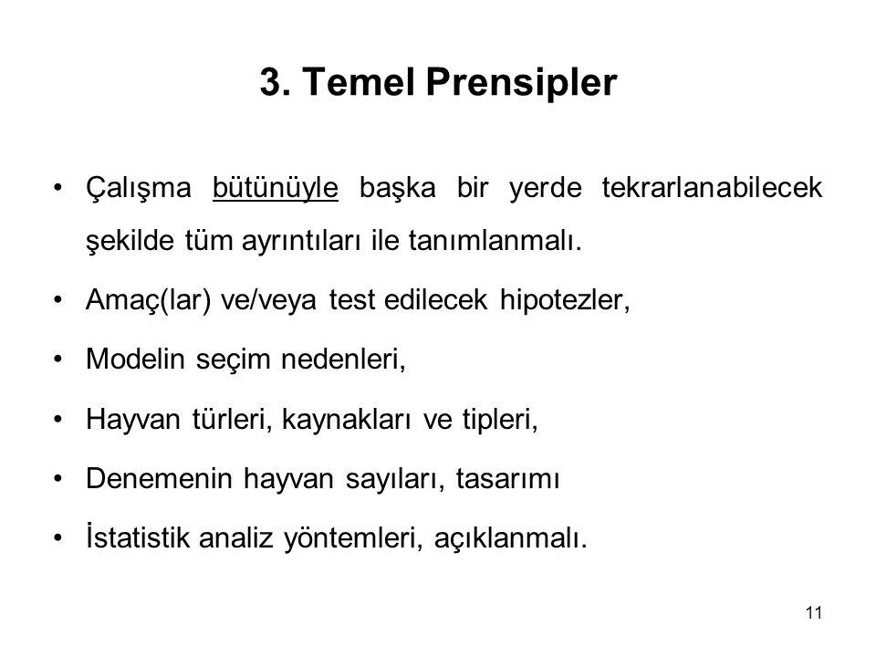 11 3. Temel Prensipler Çalışma bütünüyle başka bir yerde tekrarlanabilecek şekilde tüm ayrıntıları ile tanımlanmalı. Amaç(lar) ve/veya test edilecek h