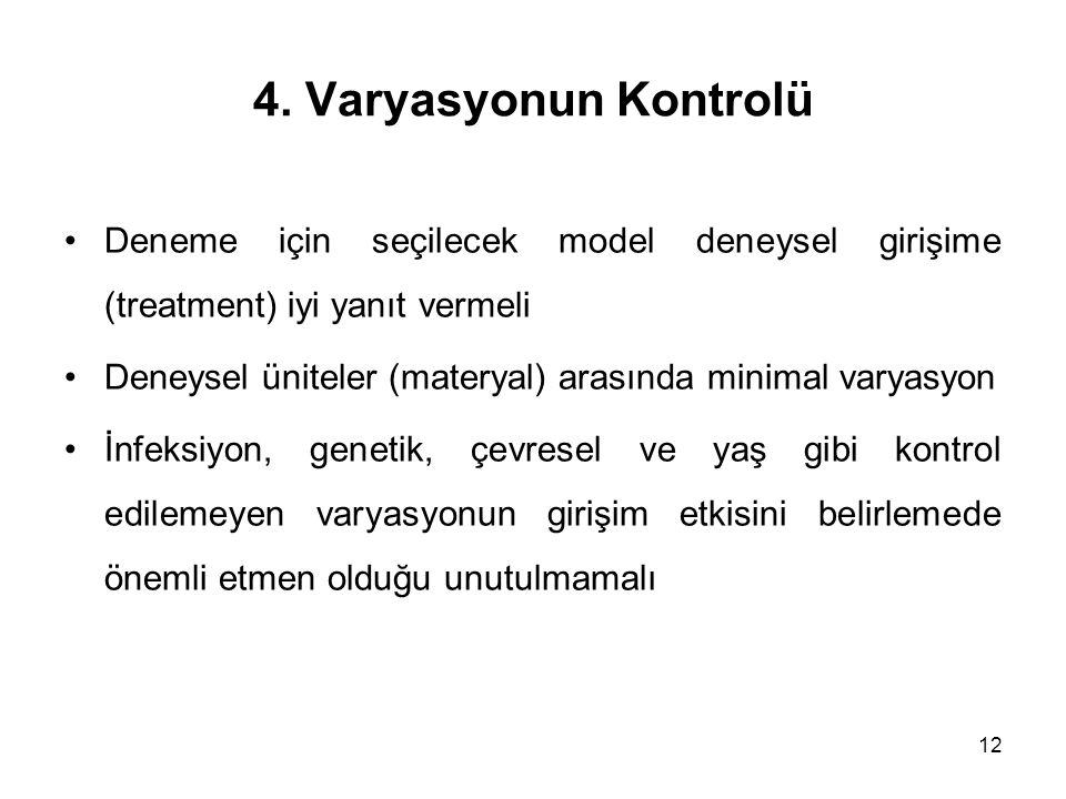 12 4. Varyasyonun Kontrolü Deneme için seçilecek model deneysel girişime (treatment) iyi yanıt vermeli Deneysel üniteler (materyal) arasında minimal v