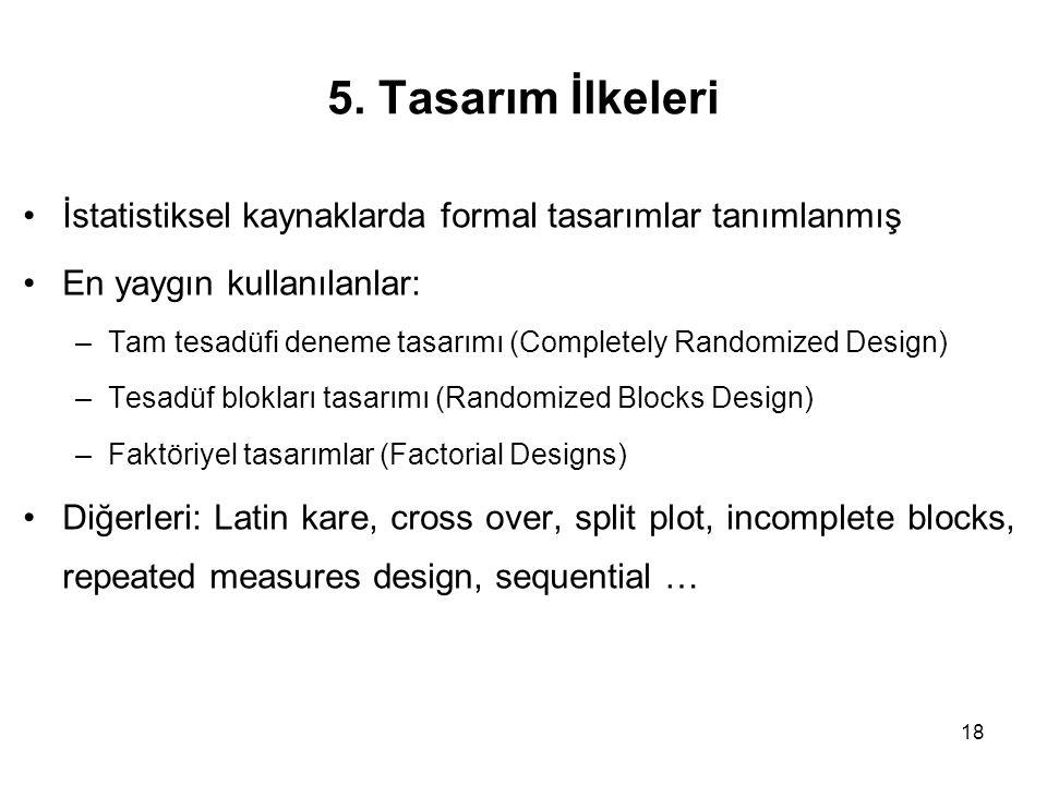 18 5. Tasarım İlkeleri İstatistiksel kaynaklarda formal tasarımlar tanımlanmış En yaygın kullanılanlar: –Tam tesadüfi deneme tasarımı (Completely Rand