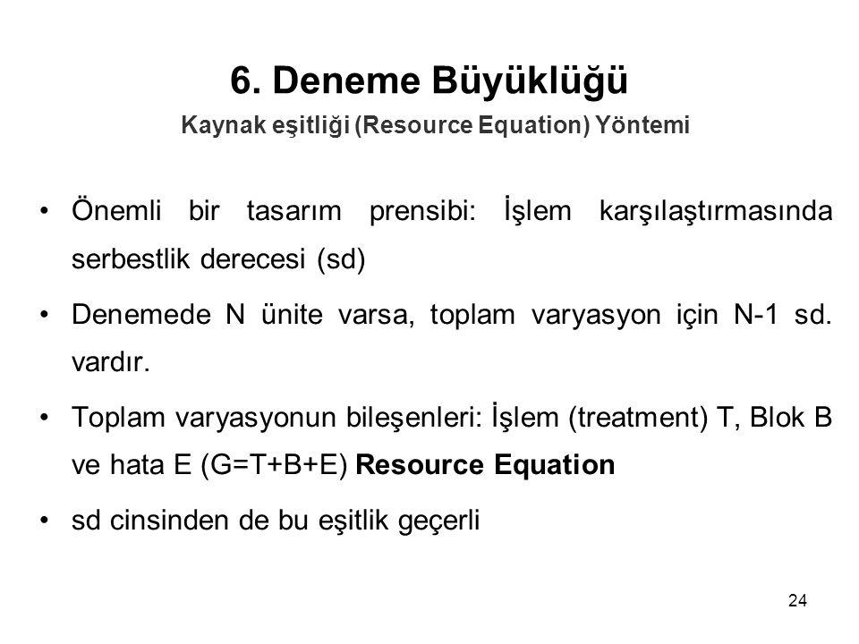 24 6. Deneme Büyüklüğü Önemli bir tasarım prensibi: İşlem karşılaştırmasında serbestlik derecesi (sd) Denemede N ünite varsa, toplam varyasyon için N-