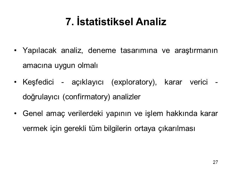 27 7. İstatistiksel Analiz Yapılacak analiz, deneme tasarımına ve araştırmanın amacına uygun olmalı Keşfedici - açıklayıcı (exploratory), karar verici