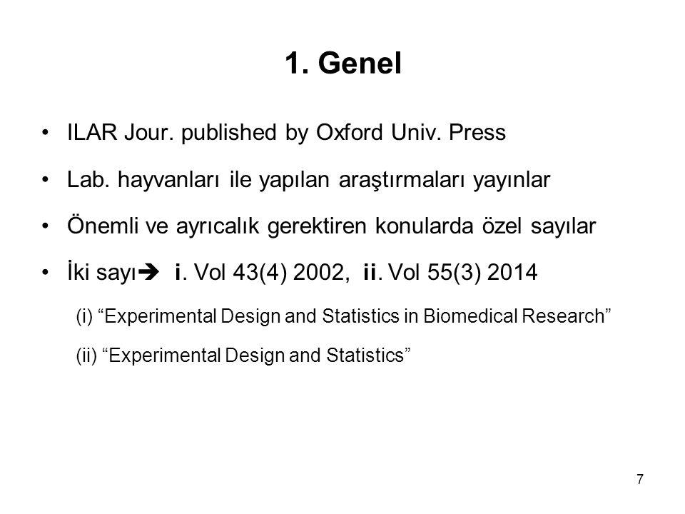 7 ILAR Jour. published by Oxford Univ. Press Lab. hayvanları ile yapılan araştırmaları yayınlar Önemli ve ayrıcalık gerektiren konularda özel sayılar