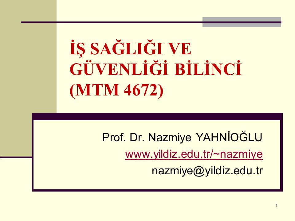 1 İŞ SAĞLIĞI VE GÜVENLİĞİ BİLİNCİ (MTM 4672) Prof. Dr. Nazmiye YAHNİOĞLU www.yildiz.edu.tr/~nazmiye nazmiye@yildiz.edu.tr