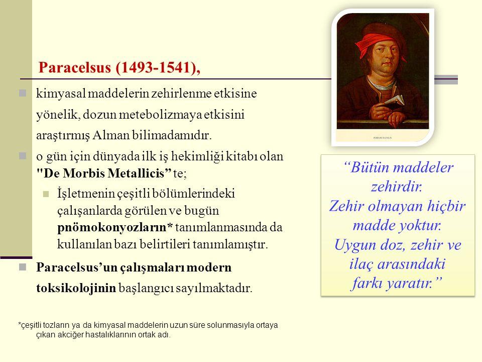 Paracelsus (1493-1541), kimyasal maddelerin zehirlenme etkisine yönelik, dozun metebolizmaya etkisini araştırmış Alman bilimadamıdır. o gün için dünya