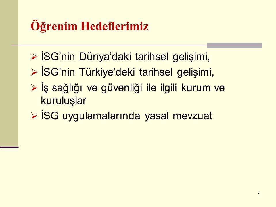 Öğrenim Hedeflerimiz  İSG'nin Dünya'daki tarihsel gelişimi,  İSG'nin Türkiye'deki tarihsel gelişimi,  İş sağlığı ve güvenliği ile ilgili kurum ve kuruluşlar  İSG uygulamalarında yasal mevzuat 3