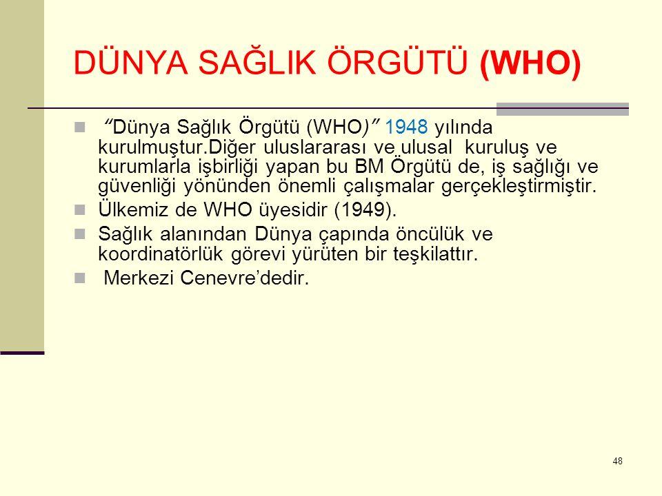 """DÜNYA SAĞLIK ÖRGÜTÜ (WHO) """"Dünya Sağlık Örgütü (WHO)"""" 1948 yılında kurulmuştur.Diğer uluslararası ve ulusal kuruluş ve kurumlarla işbirliği yapan bu B"""