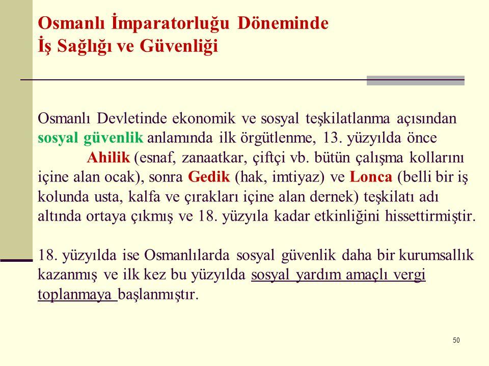 Osmanlı Devletinde ekonomik ve sosyal teşkilatlanma açısından sosyal güvenlik anlamında ilk örgütlenme, 13. yüzyılda önce Ahilik (esnaf, zanaatkar, çi