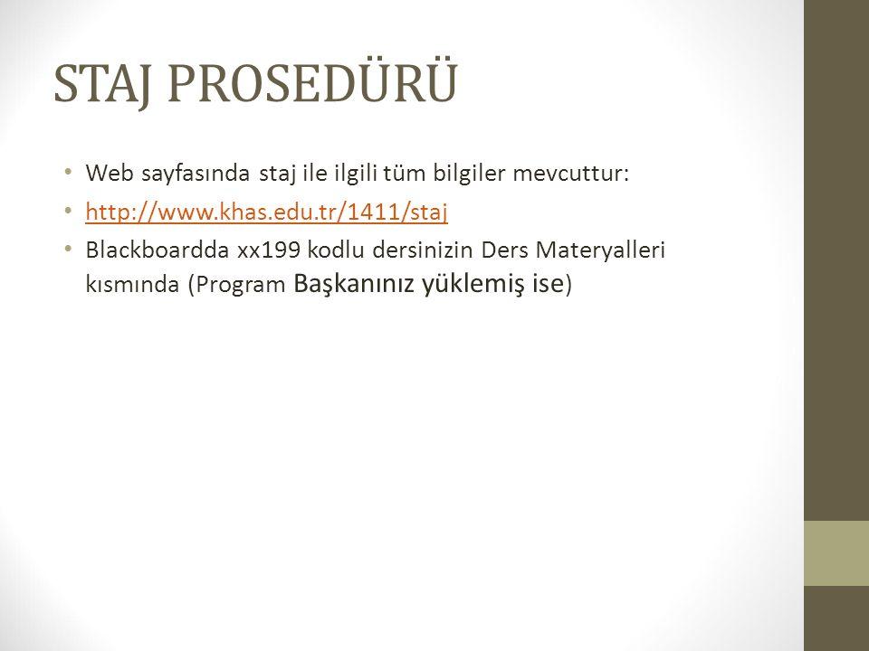 STAJ PROSEDÜRÜ Web sayfasında staj ile ilgili tüm bilgiler mevcuttur: http://www.khas.edu.tr/1411/staj Blackboardda xx199 kodlu dersinizin Ders Materyalleri kısmında (Program Başkanınız yüklemiş ise )
