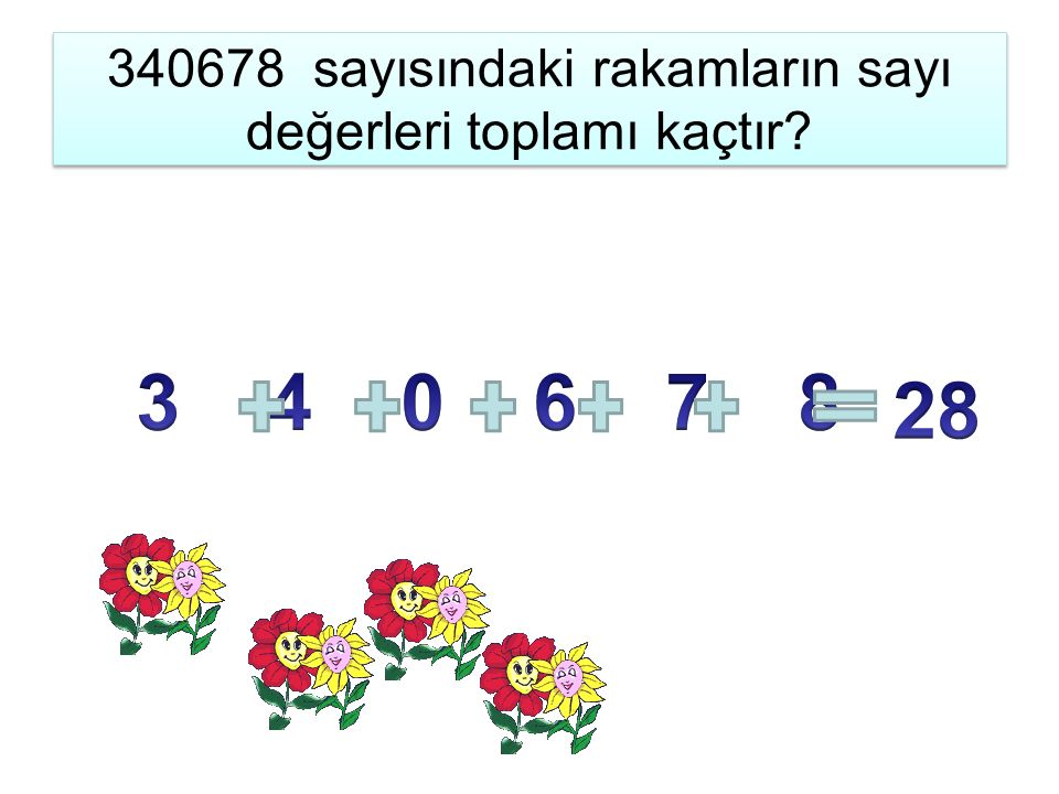 340678 sayısındaki rakamların sayı değerleri toplamı kaçtır.