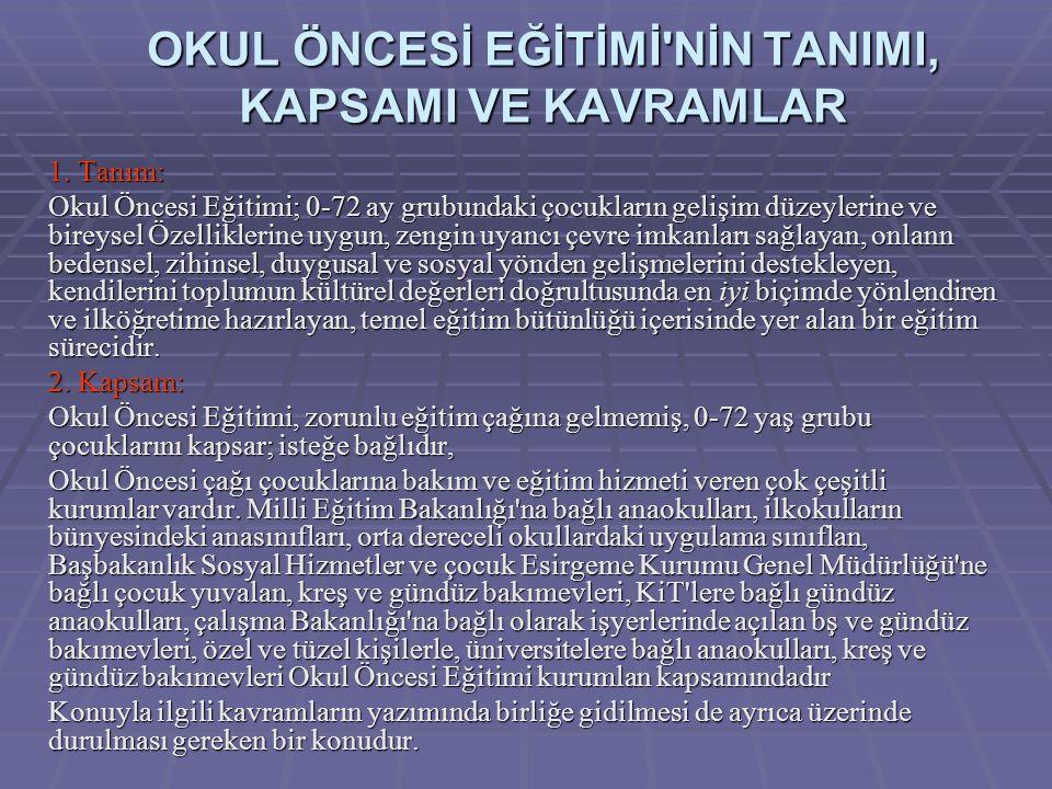 OKUL ÖNCESİ EĞİTİMİ NİN TANIMI, KAPSAMI VE KAVRAMLAR 1.