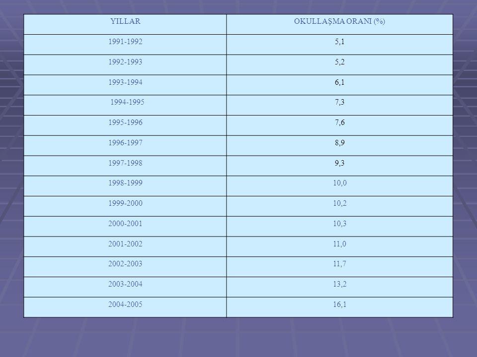 YILLAROKULLAŞMA ORANI (%) 1991-19925,1 1992-19935,2 1993-19946,1 1994-19957,3 1995-19967,6 1996-19978,9 1997-19989,3 1998-199910,0 1999-200010,2 2000-200110,3 2001-200211,0 2002-200311,7 2003-200413,2 2004-200516,1