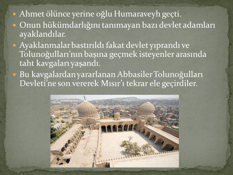 Ahmet ölünce yerine oğlu Humaraveyh geçti. Onun hükümdarlığını tanımayan bazı devlet adamları ayaklandılar. Ayaklanmalar bastırıldı fakat devlet yıpra