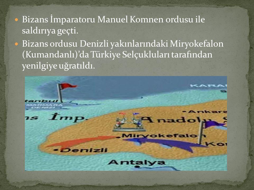 Bizans İmparatoru Manuel Komnen ordusu ile saldırıya geçti. Bizans ordusu Denizli yakınlarındaki Miryokefalon (Kumandanlı)'da Türkiye Selçukluları tar