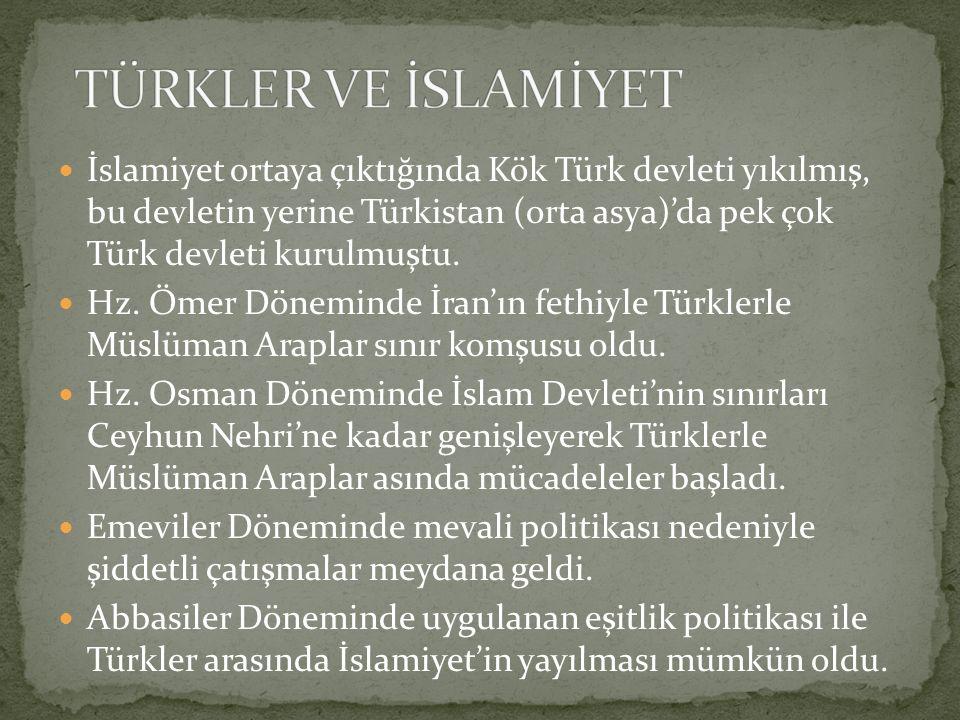 İslamiyet ortaya çıktığında Kök Türk devleti yıkılmış, bu devletin yerine Türkistan (orta asya)'da pek çok Türk devleti kurulmuştu. Hz. Ömer Döneminde