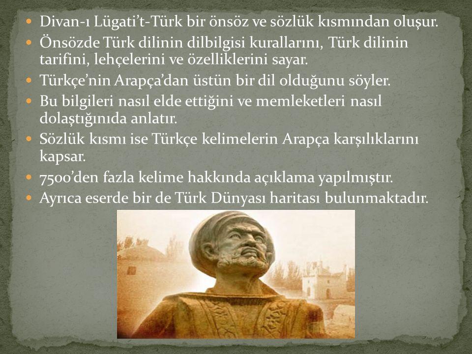 Divan-ı Lügati't-Türk bir önsöz ve sözlük kısmından oluşur. Önsözde Türk dilinin dilbilgisi kurallarını, Türk dilinin tarifini, lehçelerini ve özellik