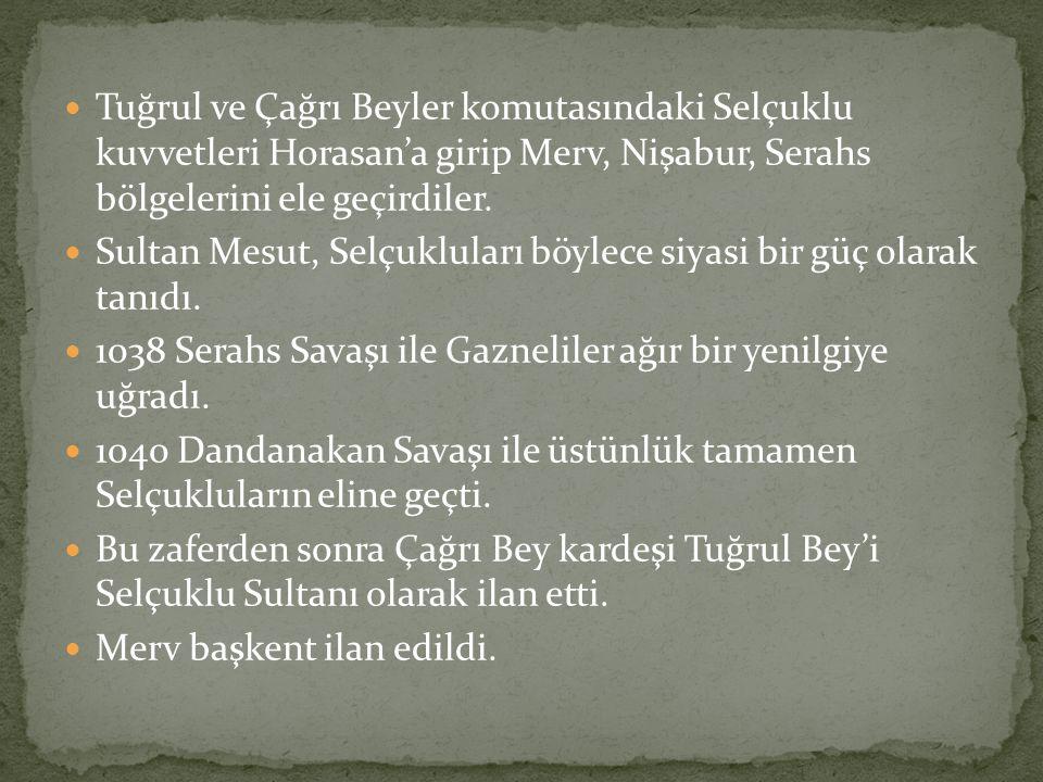 Tuğrul ve Çağrı Beyler komutasındaki Selçuklu kuvvetleri Horasan'a girip Merv, Nişabur, Serahs bölgelerini ele geçirdiler. Sultan Mesut, Selçukluları