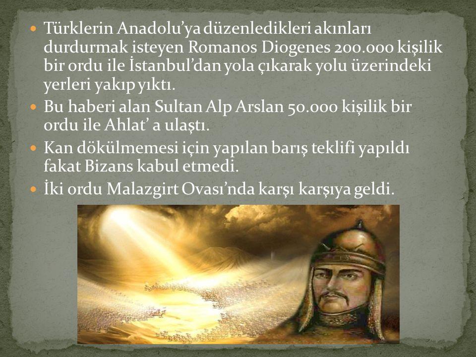 Türklerin Anadolu'ya düzenledikleri akınları durdurmak isteyen Romanos Diogenes 200.000 kişilik bir ordu ile İstanbul'dan yola çıkarak yolu üzerindeki