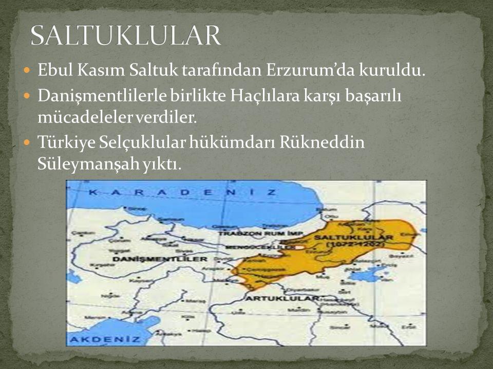 Ebul Kasım Saltuk tarafından Erzurum'da kuruldu. Danişmentlilerle birlikte Haçlılara karşı başarılı mücadeleler verdiler. Türkiye Selçuklular hükümdar