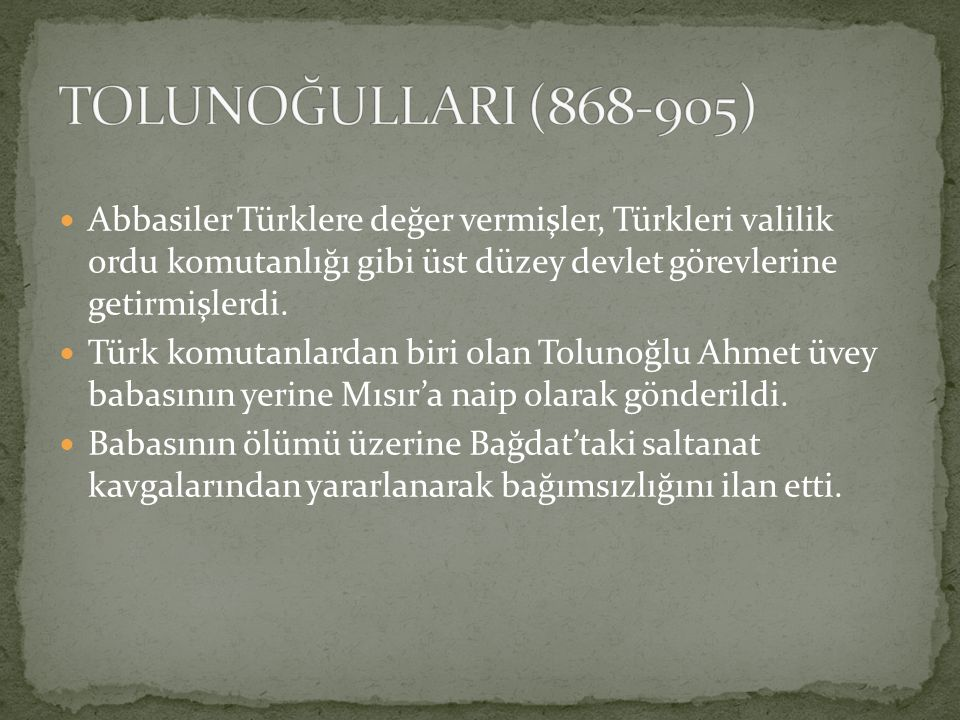 Abbasiler Türklere değer vermişler, Türkleri valilik ordu komutanlığı gibi üst düzey devlet görevlerine getirmişlerdi. Türk komutanlardan biri olan To