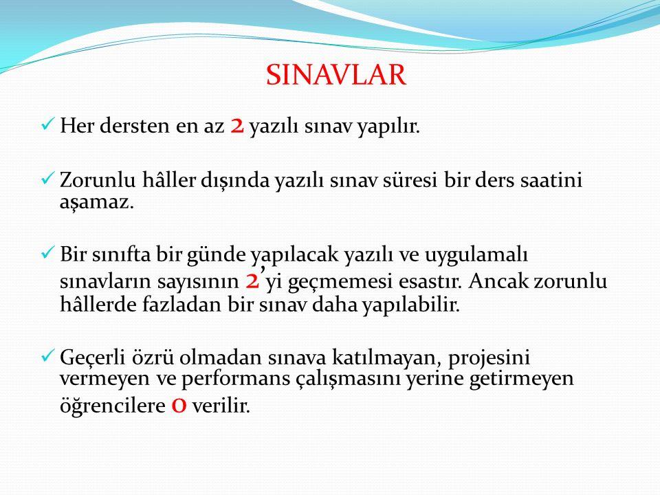 SINAVLAR Her dersten en az 2 yazılı sınav yapılır.