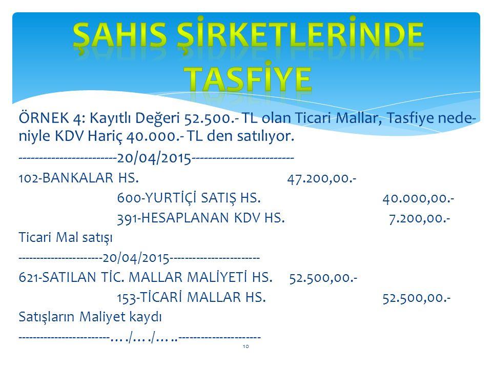 ÖRNEK 3: Tasfiye işlemleri nedeniyle 10.850.- TL lik Borç Senetleri, erken ödeme nedeniyle 10.500.- TL olarak ödeniyor. MUHASEBE KAYDI: --------------