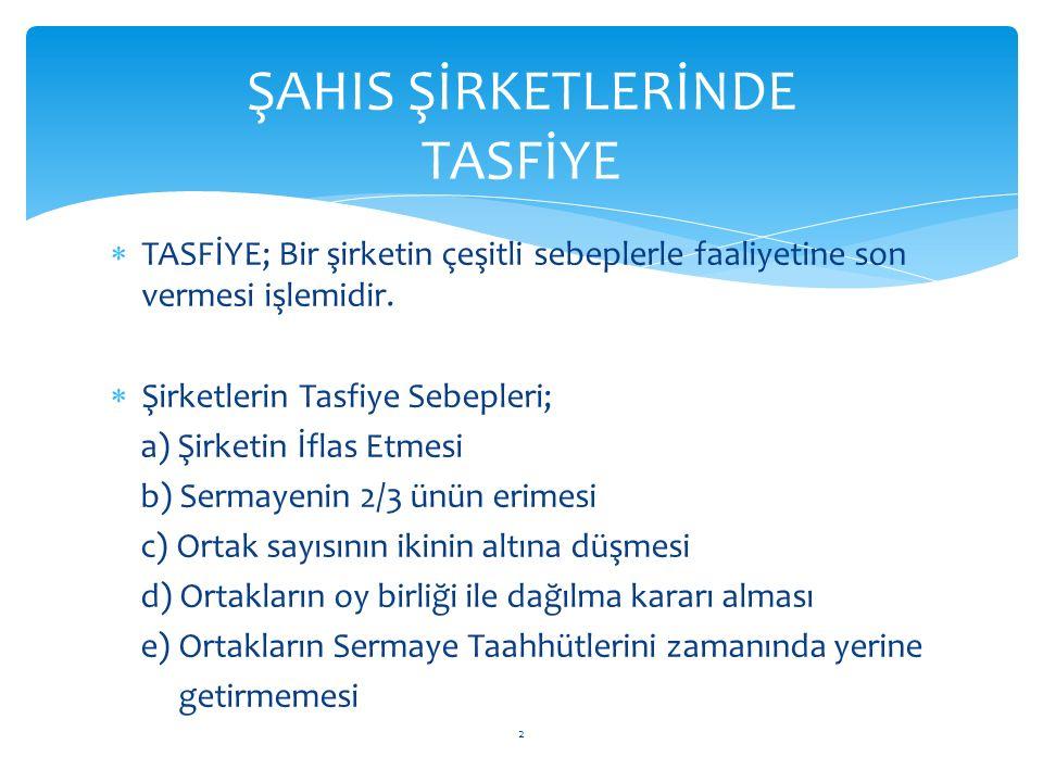 ŞİRKET KAPANIŞ İŞLEMLERİ ŞAHIS ŞİRKETLERİNDE TASFİYE
