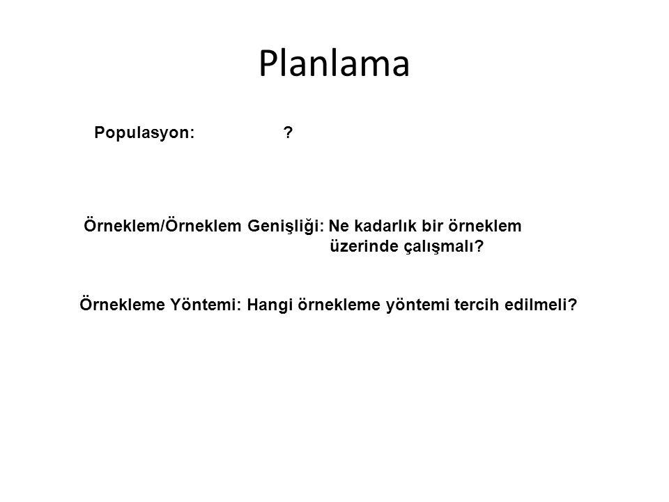Planlama Populasyon: . Örneklem/Örneklem Genişliği: Ne kadarlık bir örneklem üzerinde çalışmalı.