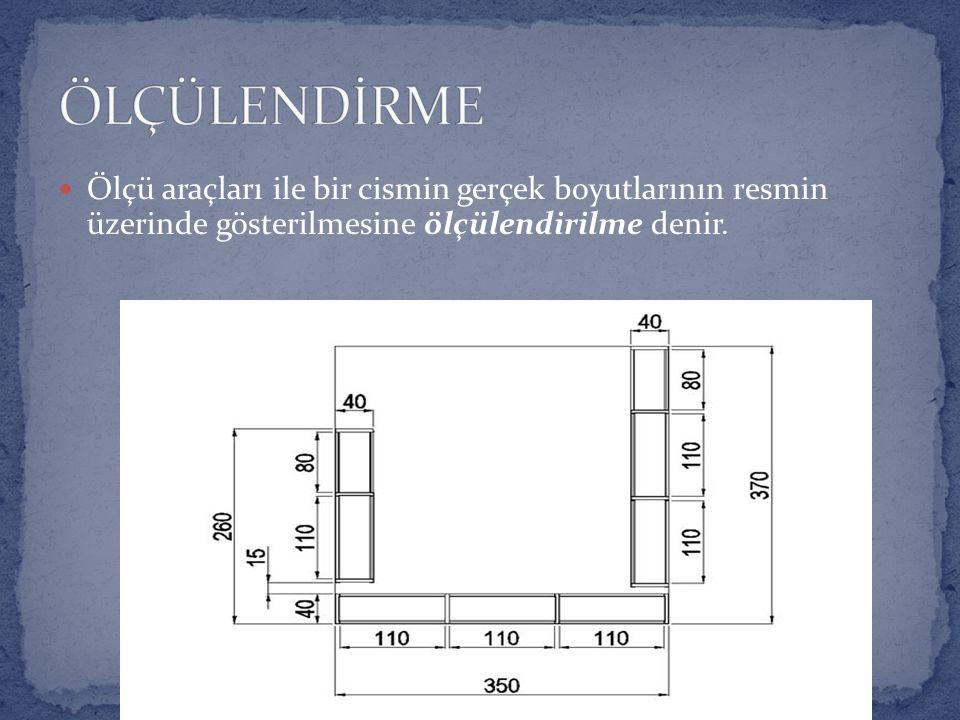 Ölçü araçları ile bir cismin gerçek boyutlarının resmin üzerinde gösterilmesine ölçülendirilme denir.