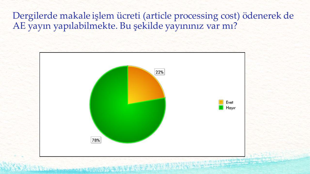 Dergilerde makale işlem ücreti (article processing cost) ödenerek de AE yayın yapılabilmekte. Bu şekilde yayınınız var mı?